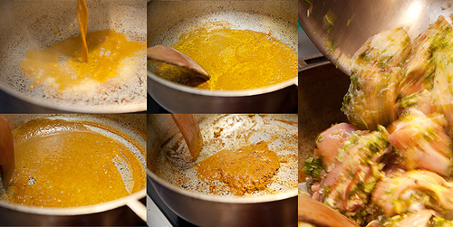 ... water to help create a sauce, and continue simmering the chicken